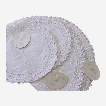 Quills Killarney Irish Linen Embroidered Crocheted Centerpiece and Doilies.