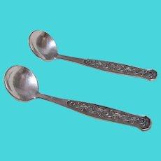 Two Silver Plated Embossed Salt Spoons- Meka, Denmark
