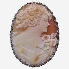 Antique Ostby & Barton 10k White Gold Carnelian Shell Cameo.