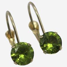 14K Gold Lever Back Natural Peridot Gemstone Earrings