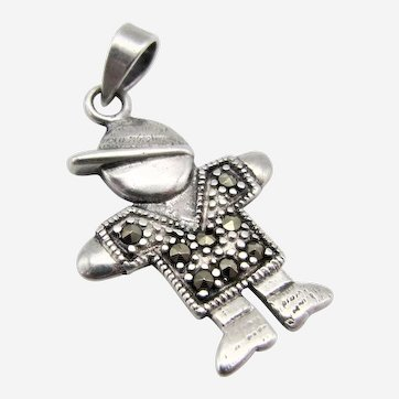 Sterling Silver Marcasite Pendant-Playful Boy Wearing a Cap.