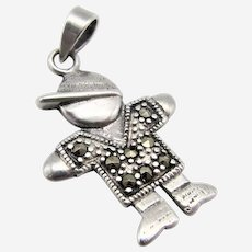 Sterling Silver Marcasite Pendant/charm-Boy Wearing a Cap.