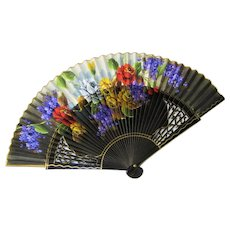 Black Lacquer Cut-Out Hand Folding Fan-Roses and Violets.
