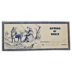 Reward Of Merit Lithograph to Carrie Patch Student By Mattie Baker Teacher. 1860s
