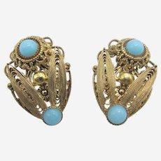 Art Deco Czech Filigree Flower Earrings With Persian Blue Glass Stones.