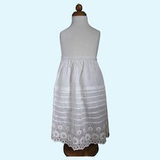 Antique White Embroidered Half Slip For Bisque or China Head Doll.