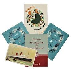 Cunard R.M.S Mauretania Ship- Passenger Booklet, 3 Programs & Postcard 1954