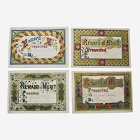 Victorian Era Reward Of Merits - 4 Colorful Decorated Cards-Teacher and Student.