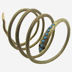 Antique Victorian Snake Bracelet Bangle With Turquoise & Garnets.