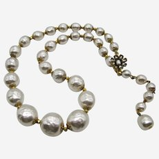 Miriam Haskell Large Baroque Glass Pearl Choker Necklace-1950s