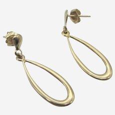 14K Yellow Gold Dangle Drop Hoop Earrings.