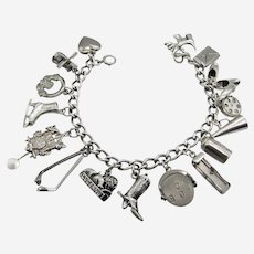 Sterling Silver .925 Charm Bracelet With 16 Charms-1950s.