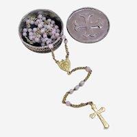 Miniature Catholic Beaded Rosary Crucifix in original Case.