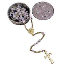 Miniature Opaline Glass Beaded Rosary Crucifix in Original Case.
