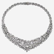 Signed Nolan Miller Brilliant Marquise Rhinestone Necklace- Thailand