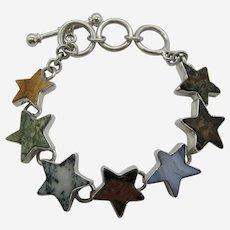 Charles Albert .950 Sterling Silver Natural Stone Star Bracelet.