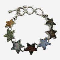 Charles Albert .950 Sterling Silver Natural Multi Stone Star Bracelet.
