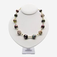 Venetian Murano Art Glass Wedding Cake Bead Necklace-1960s.