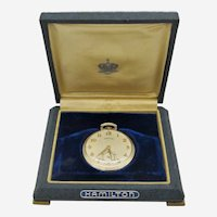 1936 Hamilton 14K Gold Filled Open Face Pocket Watch In Box -Grade 917