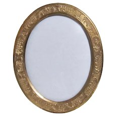 Small Antique Oval Brass Table Top Picture Frame