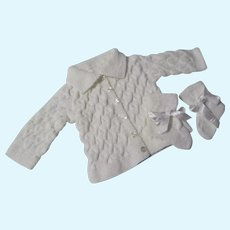 Vintage Baby Doll Hand Knitted Cable Cardigan and Booties