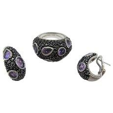 Judith Ripka Gemstone Ring and Earrings - Sterling Silver, Amethyst CZ