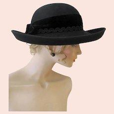 Vintage George W. Bollman 100% Wool Felt Wide Brim Ladies Hat