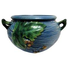 Roseville Pottery Bushberry Blue Hanging Planter Basket # 465-5 1941.