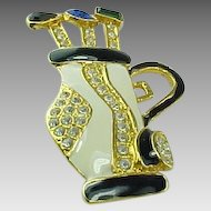 Vintage Jeweled Golf Club Bag & Clubs Rhinestone & Enameled Brooch