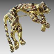 Vintage Rootbeer Glass Large Gold Tone Tiger Brooch