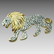Vintage Textured Base Metal Gold And White Lion Brooch