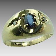 Gent's 10 K Sapphire And Diamond Ring