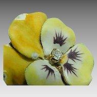 Art Nouveau 14K Gold Pansy Shaded Enamel & DIAMOND Brooch