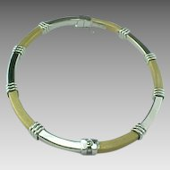 Vintage 14 K Brushed Yellow  Gold And Shiny White Gold Hinged 3 mm  Bangle