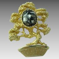 Vintage  Bonsai Tree Art Glass Goldtone Amway Costume Brooch