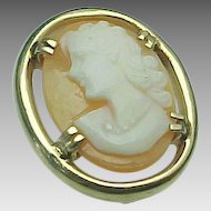 10K Yellow Gold Shell Cameo Necklace Pendant