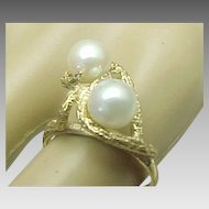 Modernist Style 10K Yellow Gold, Double Pearl Ring