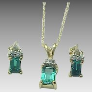 10K Yellow Gold Synthetic Emerald & Diamond Necklace & Matching Earrings