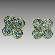 Vintage 14K Yellow Gold, Pierced Post Flower Faux Diamond Earrings