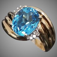 Gorgeous 10k Yellow Gold 3.50 Carat Blue Topaz & Diamond Ring