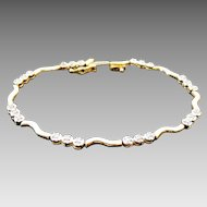 "10K Yellow Gold .25 Carat Diamond & Bar Tennis Bracelet ~ 7 1/4"" Length"