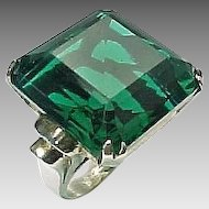 Vintage Sterling Silver 10.00 Carat Faux Emerald Ring
