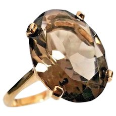 Handcrafted 14 Karat Yellow Gold 10.00 Carat Oval Smoky Quartz Solitaire Ring