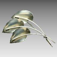 Sterling Silver Three Leaf Brooch  by Jewelart