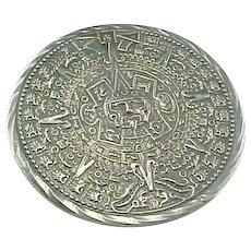 Vintage Sterling Silver Mexico Mayan Calender Pendant/Brooch