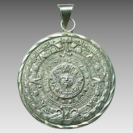 Large Sterling Silver Mexican Aztec Sundial Pendant