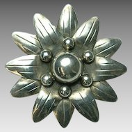 Large Daisy Flower Brooch/Pendant Mexico Sterling Silver