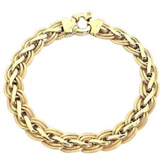 "Beautiful Italian 14 Karat Yellow Gold Ladies 9mm Custom Link 7.5"" Bracelet. #L887."