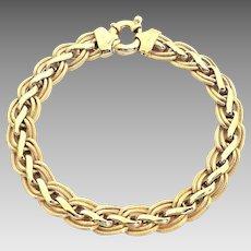 "Beautiful Italian 14 Karat Yellow Gold Ladies 9mm Custom Link 7.5"" Bracelet. #L887."