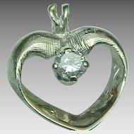 14K White Gold 1/8 Carat VS Diamond Heart Pendant